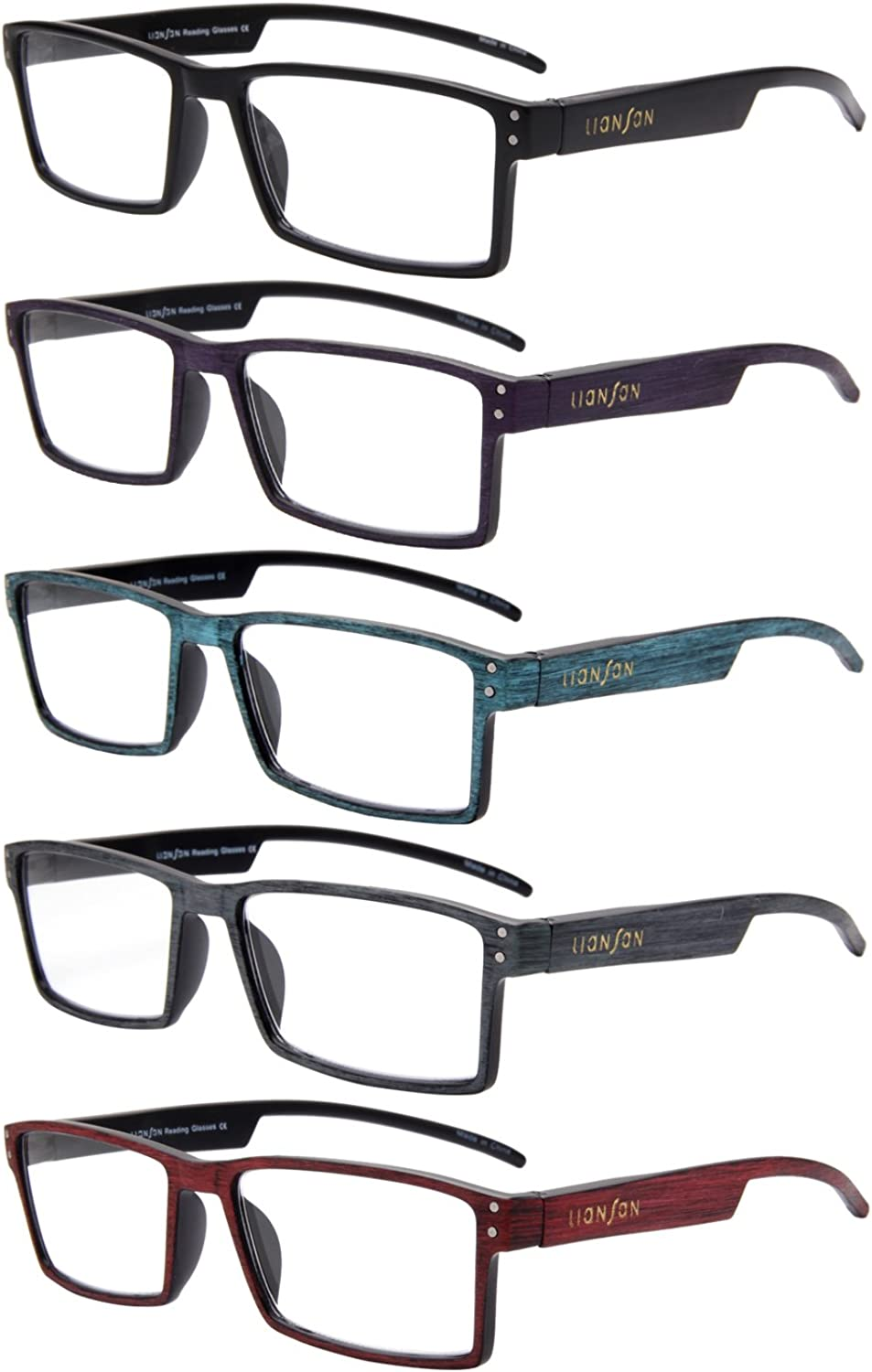 LianSan Reading Glasses 5 Pack Spring Hinge Quality Fashion WoodLook Printed Arms Men and Women Unisex Glasses L3719