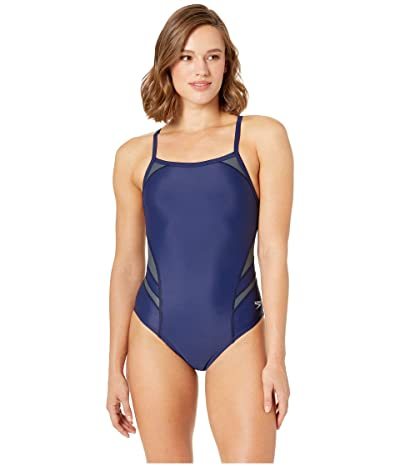 Speedo Tone Setter Splice Flyback One-Piece (Navy/Grey) Women