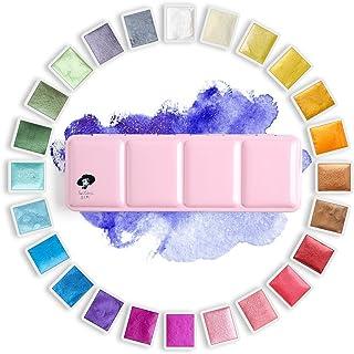 Paul Rubens Artist Watercolor Paints-Glitter Solid Colors-Pink Portable Metal Case with Palette-24 Color Set