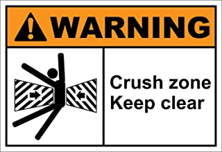 Crush Zone Keep Clear Warning OSHA ANSI Label Decal Sticker 7 inches x 5 inches