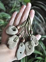 Natural Hag Stone (Wishing Stone) Necklace with Wood Bead - Adder Stone - Witch Stone - Holey Stone - Odin Stone - LARGE