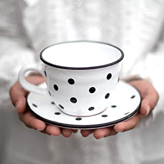 Handmade White And Black Polka Dot Large Ceramic 12oz/350ml Cappuccino Coffee Tea Cup and Saucer, Unique Designer Pottery ...