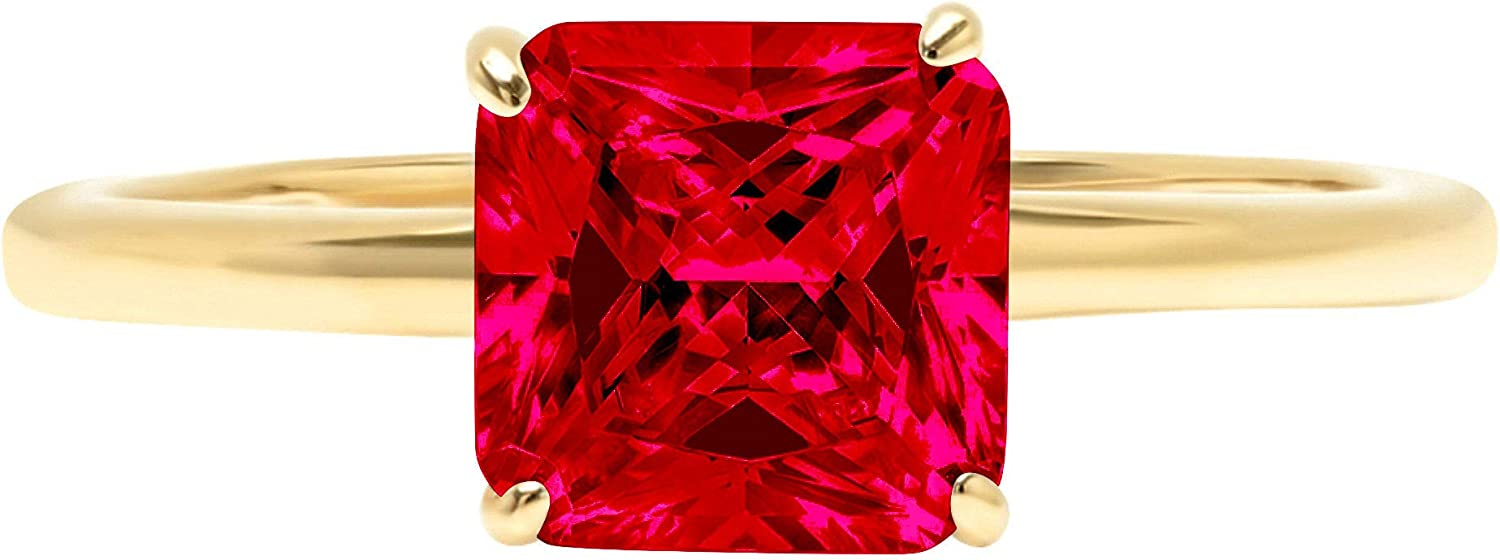 1.95 ct Brilliant Asscher Shape Solitaire Flawless Pink Tourmaline Ideal VVS1 4-Prong Engagement Wedding Bridal Promise Anniversary Designer Ring Solid 18k Yellow Gold for Women
