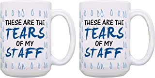 Boss Gift Set These Are the Tears of My Staff Boss Coffee Mug Set Gifts for Boss Gag Gifts Office Humor Gifts 2 Pack Gift 15-oz Coffee Mugs Tea Cups 15 oz White