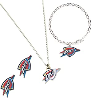 NBA Logo Stainless Steel Necklace, Bracelet and Earings Gift Bundle