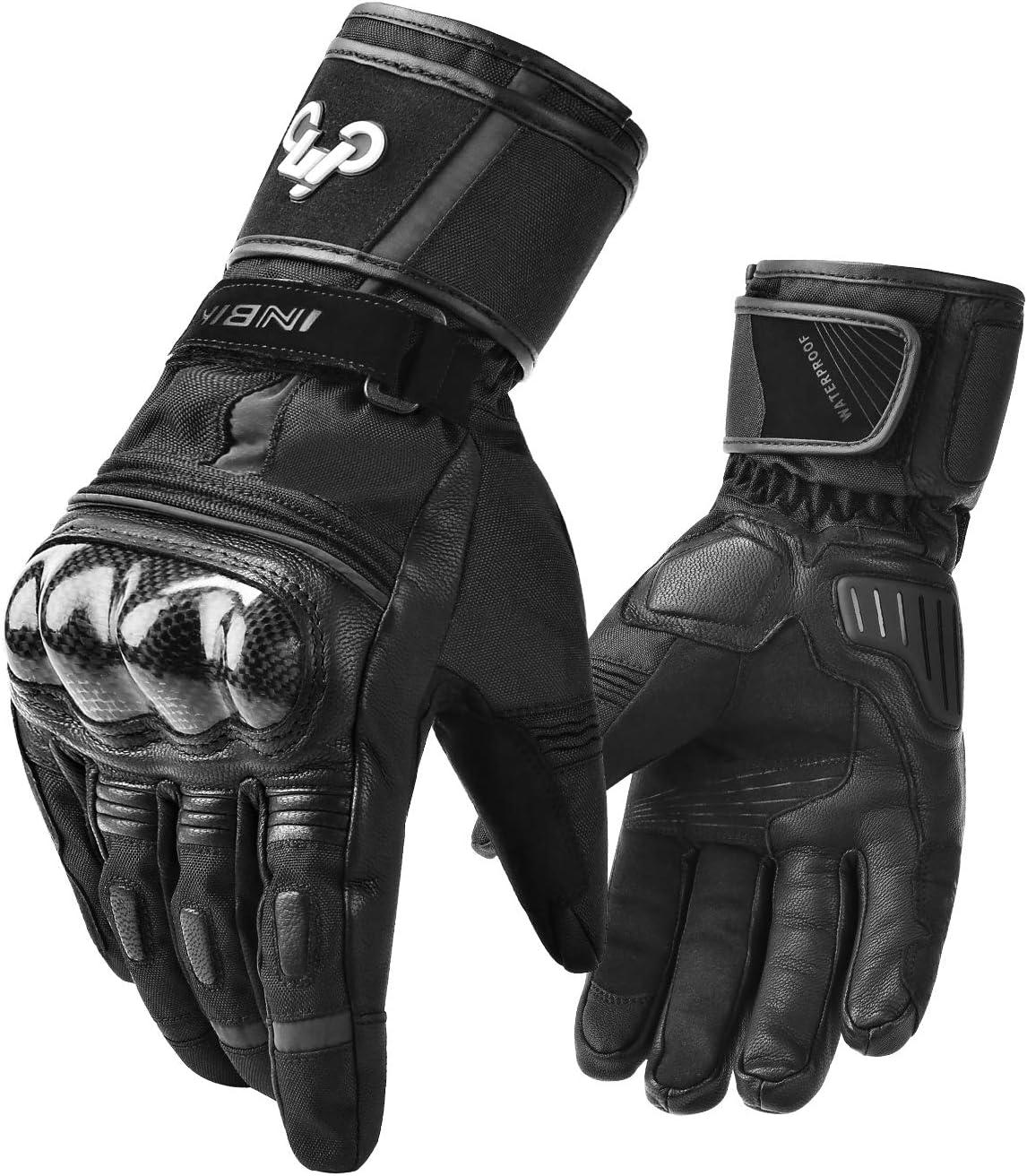 INBIKE Winter Goat Skin Leather Motorcycle Gloves,Waterproof Windproof Cold Weather Thermal Black Medium