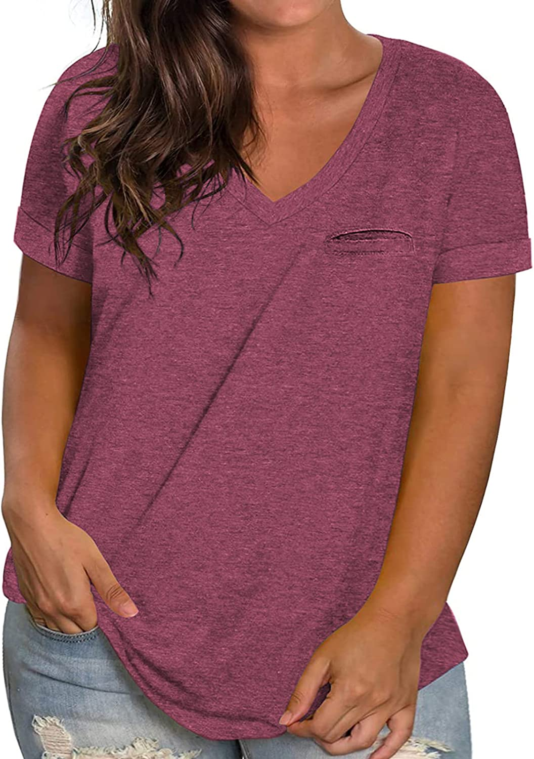 ROSRISS Womens Plus-Size V Neck T Shirts Summer Tops Rolled Short Sleeve Tunics