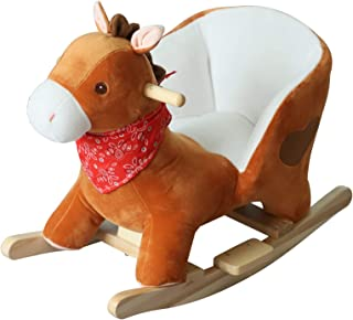 Qaba Kids Ride On Rocking Horse, Sturdy Wooden Constructure, with Songs, for Boys or Girls