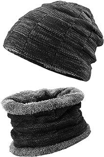 KRATARC Youth Winter Hat Warm Knit Scarf Beanie Hat Elastic Neck Gaiter Set Teenagers Youth Boys Girls Outdoor (Black)