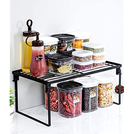 Metal Stackable Cabinet Foldable Storage Shelf Rack Spice Storage Shelf, Countertop Organizer, Kitchen Shelf Cabinet Organizer- 15inch Modern Pantry Spice Rack Organizer Stand Countertop