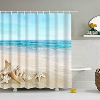 UHUSE Beach Shower Curtain, Seashell Starfish Sand Blue Sky Beach Theme Shower Curtain Waterproof Polyester Fabric Shower Curtain Set with Hooks Bathroom Decor 72