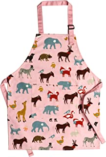 Jennice House Children Aprons, Pure Cotton Canvas Kids Aprons with Adjustable Neck Strap and Pocket Cute Pink Child Chef Aprons for Boys and Girls Cooking Baking Painting Aprons in 2 Sizes (Pink, S)