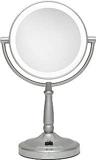 Zadro Cordless Dual-Sided LED Lighted Vanity Mirror, Satin Nickel