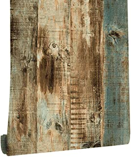 "DWIND D1089 Vintage Woods Panel Wallpaper Rolls Blue/Brown Trees Kitchen Wall Paper Murals Barnwood Home 17.7""x 9.8ft Prep..."