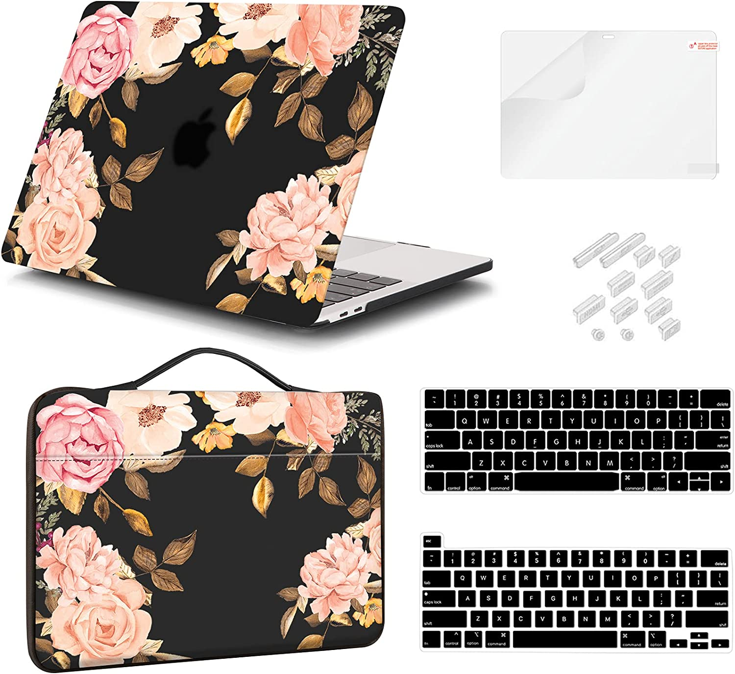 iCasso Case Compatible MacBook Pro 13 Inch Case 2020 2019 2018 2017 A2338 M1/A2251/A2289/A2159/A1989/A1706/A1708, Hard Shell Case, Sleeve Bag, Screen Protector, Keyboard Cover & Dust Plug (Peony)