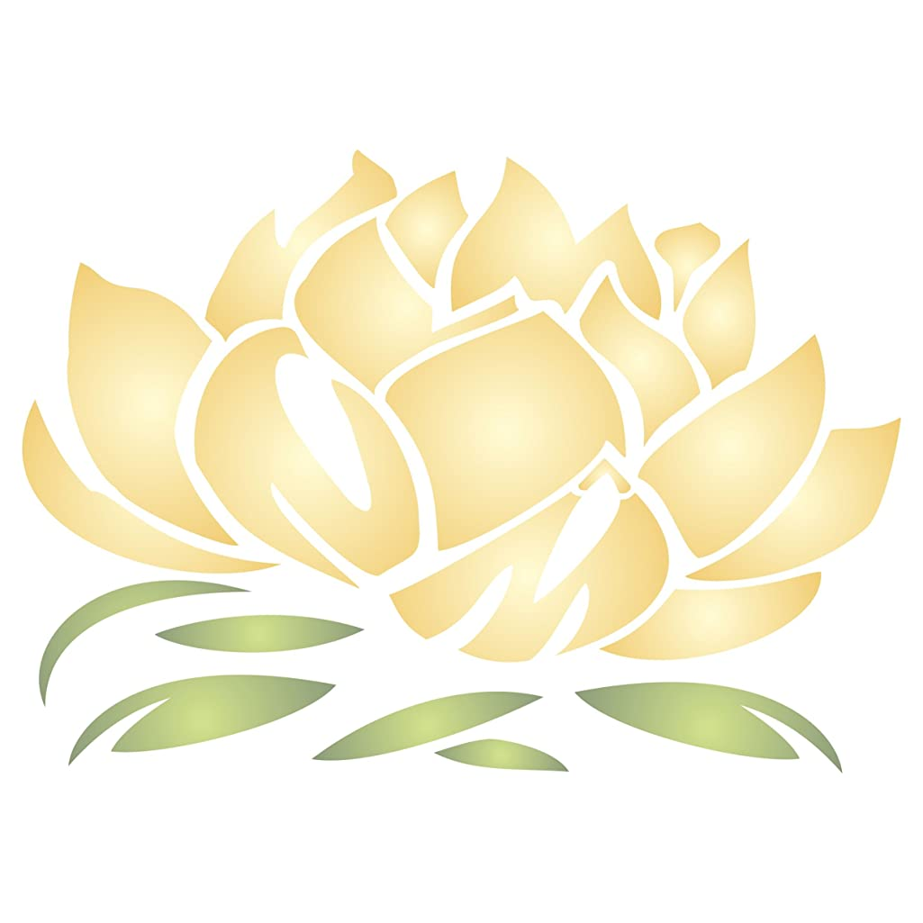 """Lotus Blossom Stencil - (size 4""""w x 2.75""""h) Reusable Wall Stencils for Painting - Best Quality Lotus Flower Stencil Ideas - Use on Walls, Floors, Fabrics, Glass, Wood, Terracotta, and More…"""