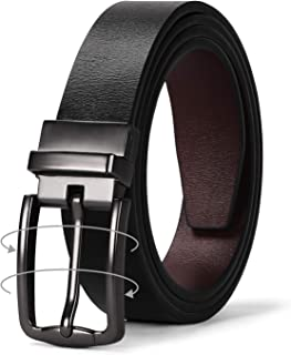 Women Leather Reversible Belt, Ladies Belt for Jeans with Rotated Buckle