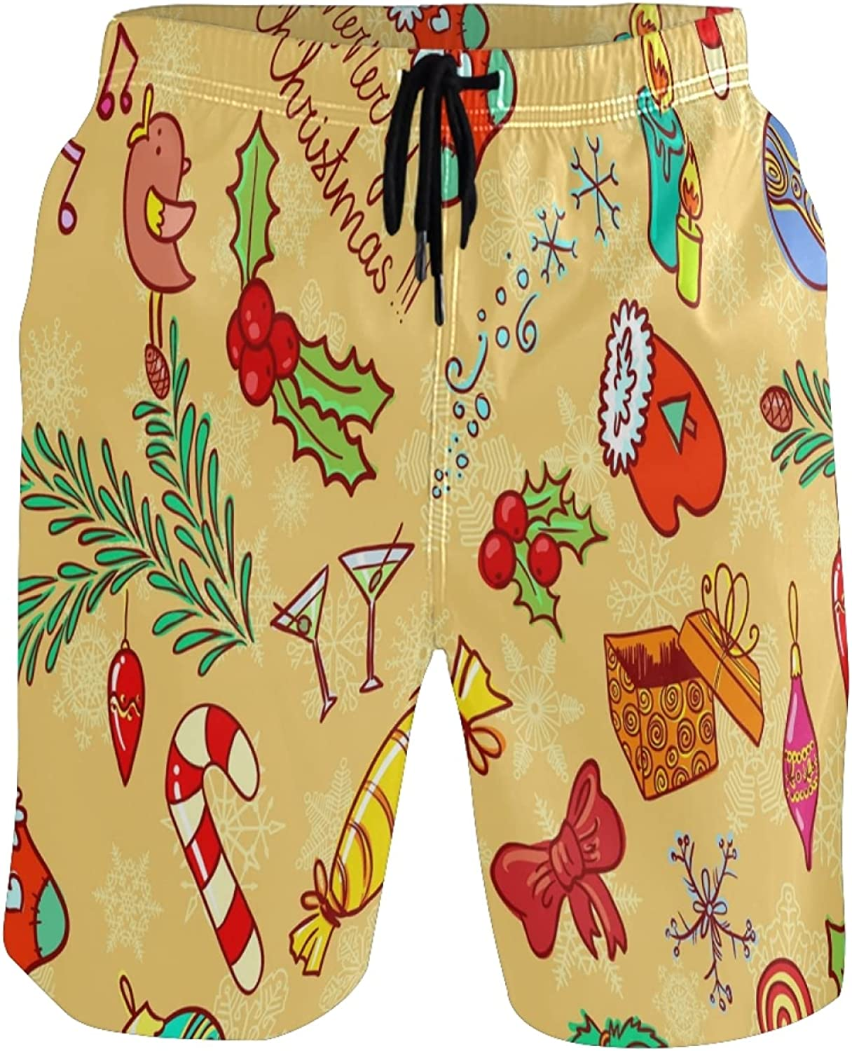 Vnurnrn Merry Candy Men's Swim Trunks Quick Dry Shorts with Pockets