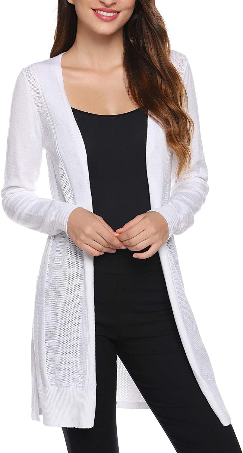 Aiboria Womens Open Front Cardigan Sweater Long Sleeve Casual Lightweight Knit Shrugs Outwear Coat