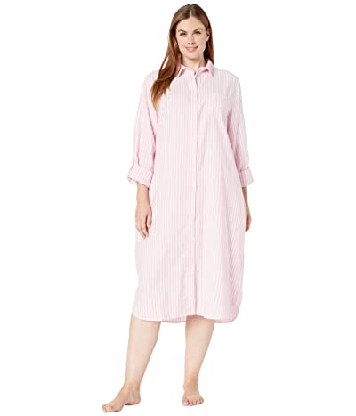 LAUREN Ralph Lauren Plus Size Brushed Roll Tab Ballet Sleepshirt (Pink Stripe) Women