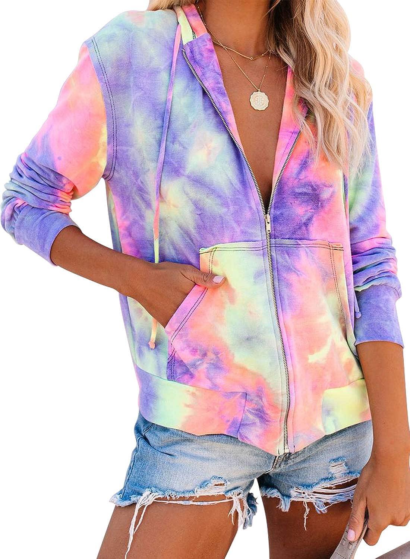 EVALESS Women Zip Sweatshirts Long Sleeve Hoodies Pullover Top
