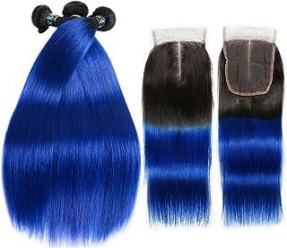 SEXAY Blue Hair Bundles with Closure, Ombre Brazilian Straight Hair 3 Bundles 1b/Blue 9A Remy Silky Straight Virgin Human Hair (16 18 20+14, 1B/blue)