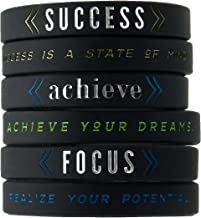 Success, Achieve, Focus - Motivational Silicone Wristbands with Inspirational Messages - Adult Unisex Size for Men Women Teens (6-Pack)