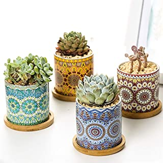 3 Inch Ceramic Small Plant Pots, Mandala Pattern Succulent Plant Pot Planter Flower Pot with Bamboo Tray, Perfect for Home...