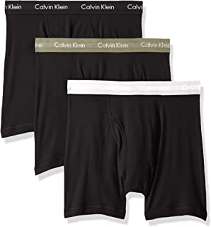 CALVIN KLEIN Mens 100% Cotton Boxer Briefs Boxer Briefs - Black - Medium
