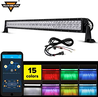 Auxbeam Multi Color LED light bar 42 Inch V Series RGB LED Bar 5D by Bluetooth APP with Mounting Brackets & Wiring Harness for Off-road Jeep Truck ATV SUV Boat