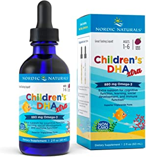 Nordic Naturals Children's DHA Xtra, Berry Punch - 2 oz - 880 mg Total Omega-3s with EPA & DHA - Cognitive & Immune Functi...