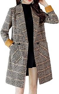 neveraway Womens Plaid Mid Long Retro Turn Down Collar Fall Winter Warm Wrap Coat