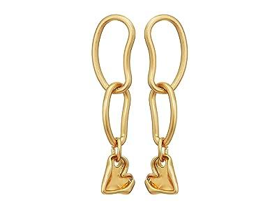 Rebecca Minkoff Organic Metal Linked Heart Earrings (Gold) Earring