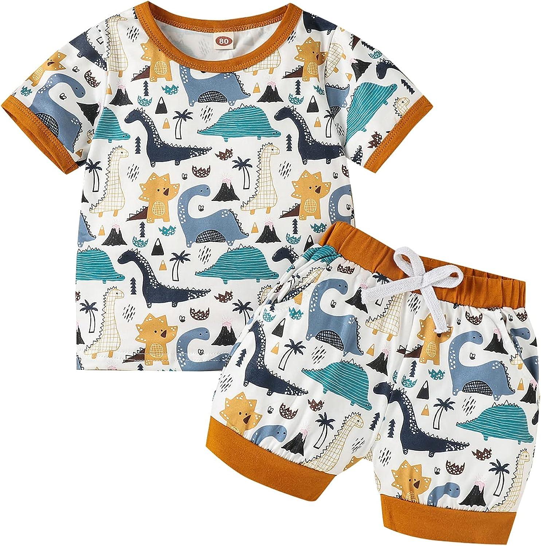 Toddler Baby Boys Girls Dinosaur Print Shorts Set Short Sleeve Ribbed T-Shirt Top+Shorts Summer Outfits