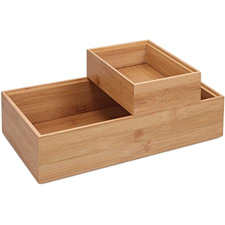 Navaris 2X Caja de Almacenamiento de bambú - Cajones apilables para almacenaje - Set Organizador apilable sin Tapa de Cajas Multiusos - En 2 tamaños
