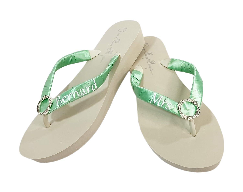 Infinity Rhinestone Wedding online shop San Antonio Mall Flip Flops Mint Green Ivory Bride