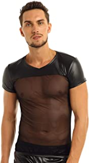QinCiao Men's Faux Leather T-Shirts Short Sleeve Mesh Stitching Tees Muscle Tank Top Tops Clubwear