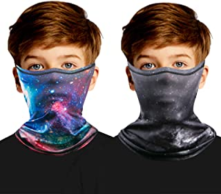 2PCS Kids Neck Gaiter Face Mask with Ear Loops, Cooling Neck Gaiters for Kids, Face Cover Covering for Boys Girls Scarf