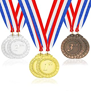 Caydo 6 Pieces Gold Silver Bronze Award Medals with Neck Ribbon, 2.55 Inch