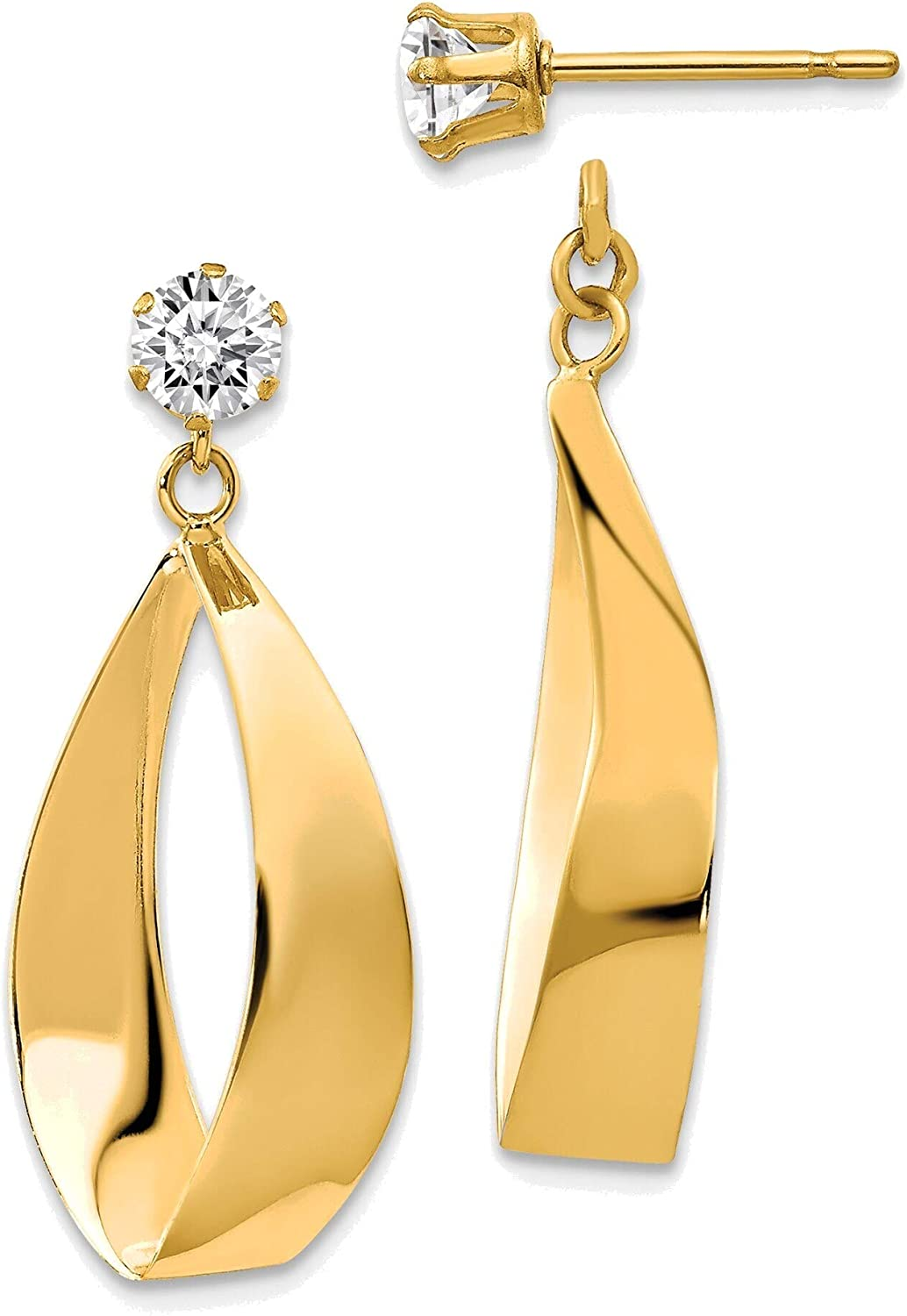 Polished Oval Dangle with CZ Stud Earring Jackets in 14K Yellow Gold