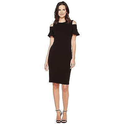 Calvin Klein Cold Shoulder Sheath Dress (Black) Women
