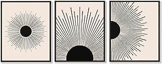 HerZii Prints - Mid Century Modern Decor - Set of 3, 11x14 inch - Boho Minimalist Wall Art Prints - Contemporary Home Deco...