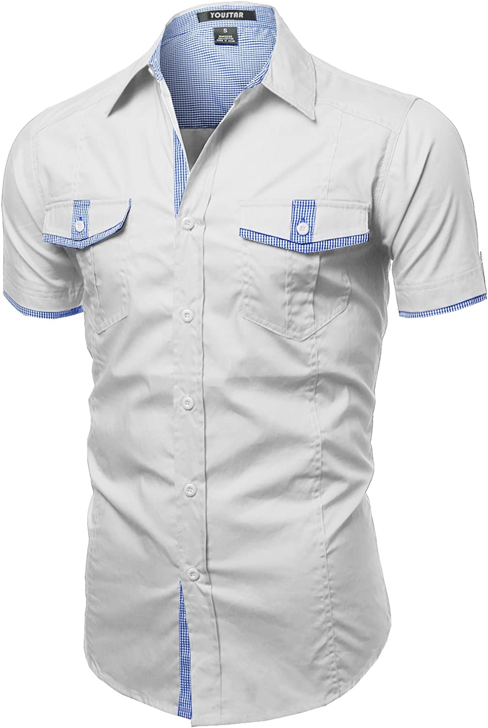 Youstar Men's Directly managed store Max 88% OFF Short Sleeve Shirts Down Button