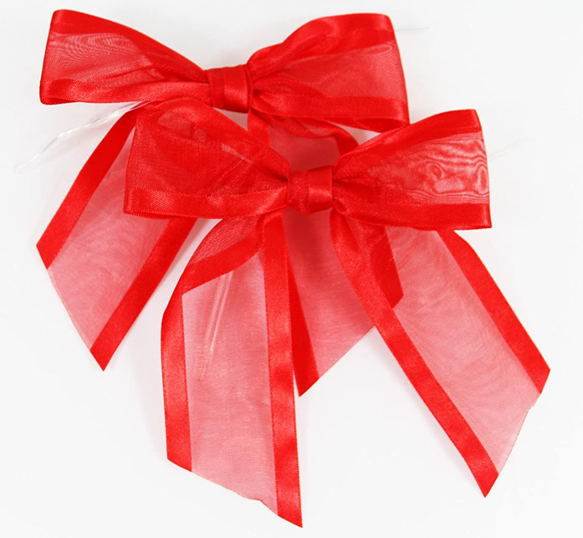 Red Pre-Tied Organza Bows with Twist Ties. Pack of 12 Satin-Edged Fabric Bows Made of 1-1/2