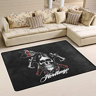 Mr.Brilliant Skull Large Area Rug for Living Room India Style Soft Floor Mat Play Carpet Children Crawl Rug for Playroom Classroom 72 x 48 in 2060898