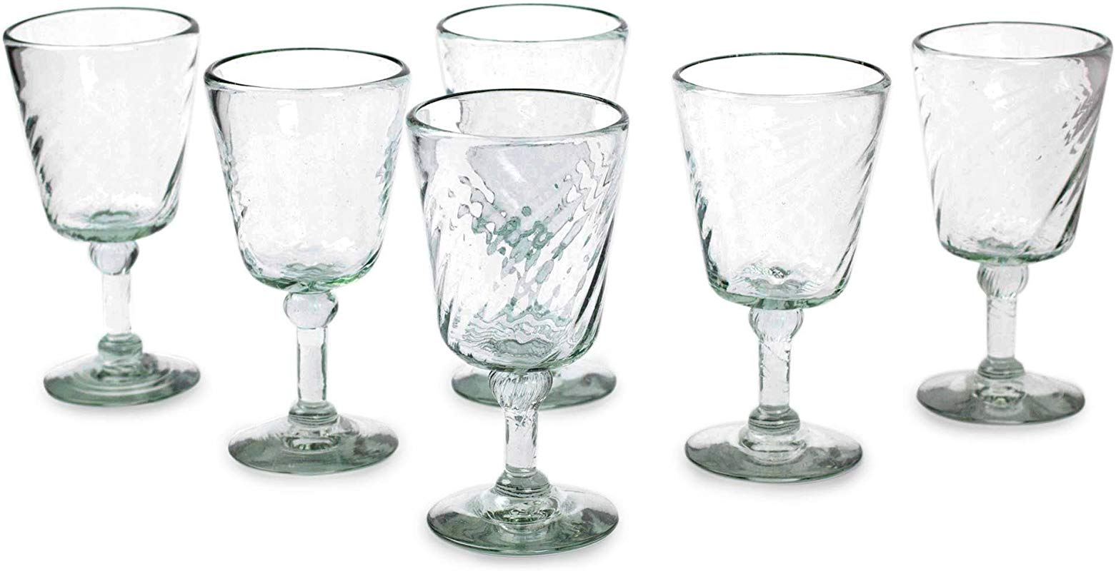 NOVICA Hand Blown Clear Recycled 15759 Contoured Wine Glass Set Of 6 9oz