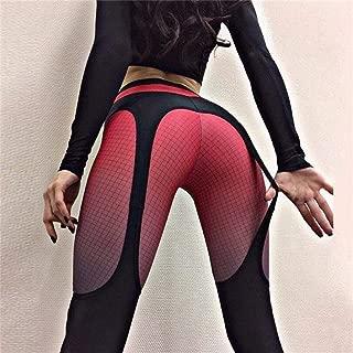 Jinqiuyuan Women Digital Printing Leggings Workout Leggings High Waist Push Up Sling Digital Printing Stretch Yoga Hip High Waist (Color : Red, Size : L)