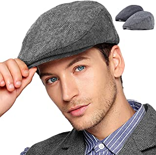 2Pack Adjustable Newsboy Hats for Men Flat Cap Mens Irish Cabbie Gatsby Tweed Ivy