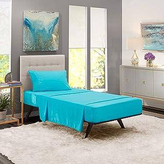 iBed Home Solid Bedsheets 2 Pieces Bedding Set, Single Size, 160x240cm, Aqua Blue, FLTSNGL1