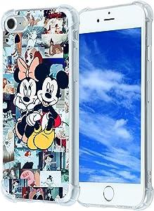 Cute iPhone SE 2020/7/8 Case, Cartoon Minnie Mickey Mouse Character Girly iPhone Case Design for Kids Men Women Boys Girls Fan,Cute Kawaii Cartoon Slim Soft Cool TPU Case for iPhone SE 2020/7/8